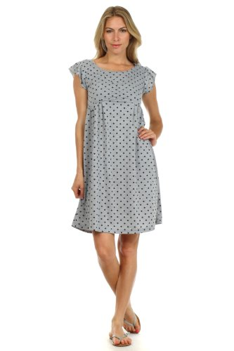 Kathernie Maternity And Nursing Dress (Gray With Black Dots, Medium)