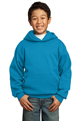 Port & Company Boys' Pullover Hooded Sweatshirt L Neon Blue