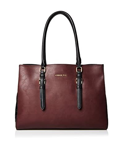 London Fog Women's Layla Two-Tone Tote, Wine