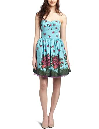 Betsey Johnson Women's Strapless Dress,Blue,0