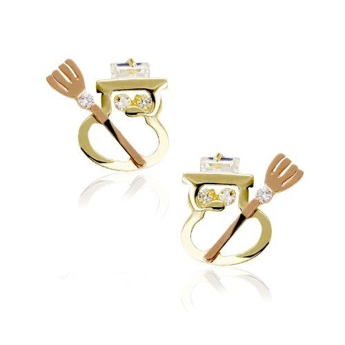 14k Two Tone Gold Snowman CZ Stud Earring