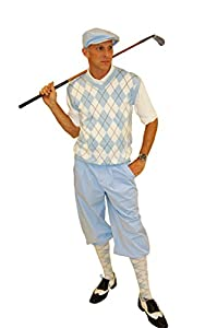 1930s Style Men's Pants Carolina Blue Knickers Polo Cap and Socks $99.00 AT vintagedancer.com