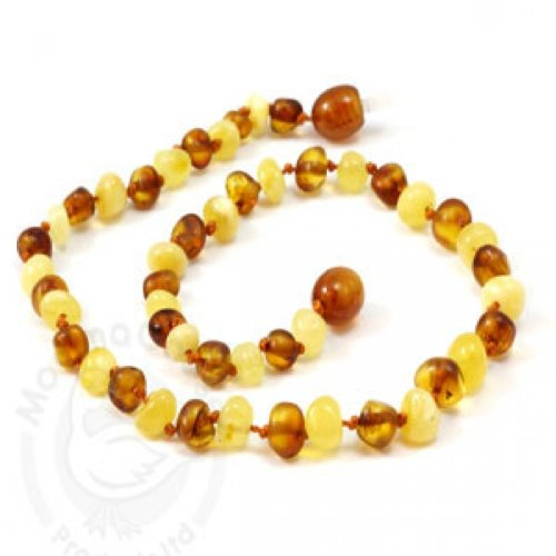 Momma Goose Baroque Teething Necklace, Cognac and Milky, Medium/12-12.5""