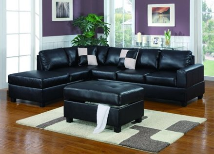Furniture2go F7355 Black Bonded Leather Match Section Sofa & Ottoman - Reversible left/Right Chaise, 3-Seat Sofa, Ottoman with storage, 2 Accent Pillows