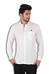 Kivon Men's White Plain Slim Fit Casual Shirt