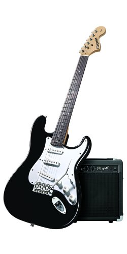 Fender Starcaster Strat Pack Electric Guitar with Amp and Accessories (Black)