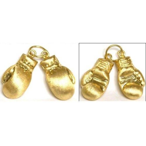 14K Yellow Gold Charm Boxing Gloves Boxer Pendant New