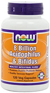 NOW Foods Acidophilus/bifidus 8 Billion, 120 Capsules