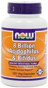 NOW Foods Acidophilus/bifidus 8 Billion, 120 Capsules
