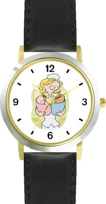 Watchbuddy Maternity Nurse With Baby Boy And Baby Girl - Watchbuddy Deluxe Two-tone Theme Watch - Arabic Numbers - Black Leather Strap-size-women's Si