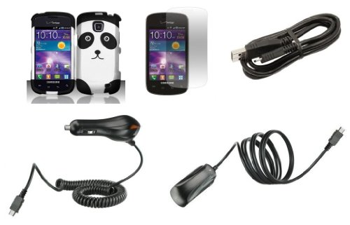 Samsung Galaxy Proclaim S720C / Illusion I110 (Net10, Straight Talk, Tracfone, Verizon) - Accessory Combo Kit - Black And Silver Panda Design Shield Case + Atom Led Keychain Light + Screen Protector + Wall Charger + Car Charger + Micro Usb Cable