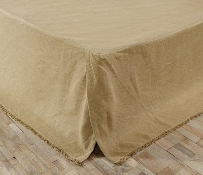 """Burlap Natural Fringed Twin Bed Skirt 39X76X16"""""""