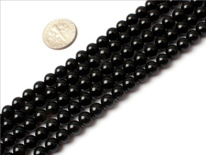 6mm Round Gemstone black Agate beads strand 15