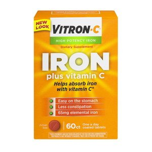 Vitron-C High Potency Iron Supplement with Vitamin C, 60 Count