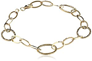 14k Italian Yellow Gold Polished and Textured Oval Link Bracelet, 8""