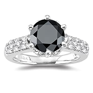 2.62 Cts Black Diamond & 0.43 Cts White Diamond Ring in 18K White Gold-5.5