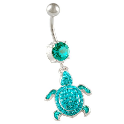 """Cute Navel Sexy Dangle Belly Button Rings 14G 3/8"""" A Piece - Pick Color - Unique Turtle Dangle Cubic Zirconia Swarovski Awesome Piercing Jewelry Beaf (Turtle - Blue Zircon (Blue))"""