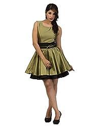Surat Tex Olive Green Color Printed Taffeta Silk Stitched Dress-I221DS114XL