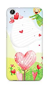 Amez designer printed 3d premium high quality back case cover for HTC Desire 626 G (Flowers hearts)