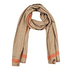 FabSeasons Brown Solid Woolen Scarf, Scarves, Stole and Shawl for Men & Women for Winters