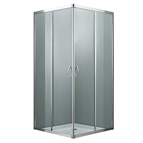 Idro Bric SCACER0227CR Box Doccia Quadrato, Alluminio, 77-78 x 77-78 x 185
