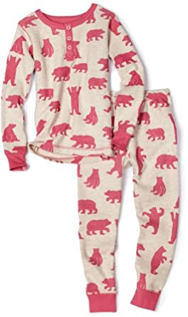 Hatley Girls Pink Bears AOP Thermal Pajama Set, Oatmeal, 6x