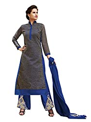 BanoRani Navy Blue Color Net Jacquard Embroidery Semi Stitched Salwar Suit (Plazzo)