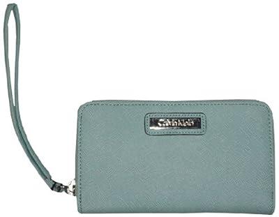 Calvin Klein Zip Around Saffiano Leather Wristlet Wallet Mint