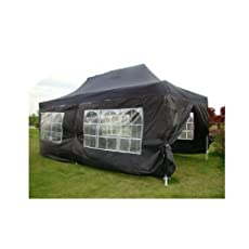 NEW WATERPROOF 3M X 6M POP UP TENT GAZEBO MARQUEE PARTY TENT INC CANOPY+ 4 SIDES (BLACK)