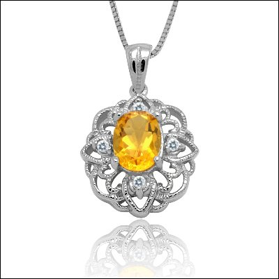 100% Genuine Citrine CZ 925 Silver Platinum Plating Necklace Gem Jewellery
