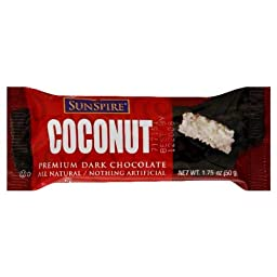 SunSpire Coconut Dark Chocolate Bar, 1.75 Ounce Bars (Pack of 48)