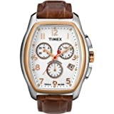 Timex Men's STYLE T2M985 Brown Leather Quartz Watch with White Dial