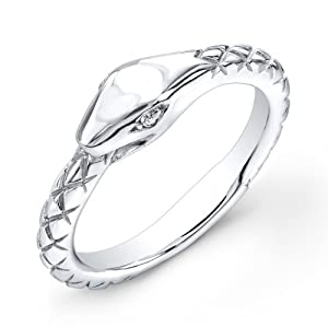 Victoria Kay White Diamond Accented Snake Ring in Sterling Silver, Size 6.5