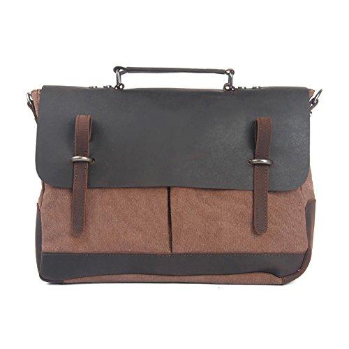 Gracemen Quality Design Durable Canvas Geniune Leather Document Shoulder Messenger Toting Bag-Coffee
