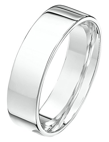 Theia Unisex Heavy Flat Court Shape Polished Platinum Wedding Ring