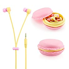 buy Zerowin Cute 3.5Mm In Ear Earphones Earbuds Headset With Macaron Earphone Organizer Box Case For Iphone,For Samsung,For Mp3 Ipod Pc Music (Pink)