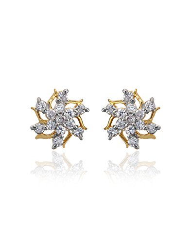 Zaveri Pearls White Cubic Zirconia Spiky Flower Stud Earring For Women-Zpfk864