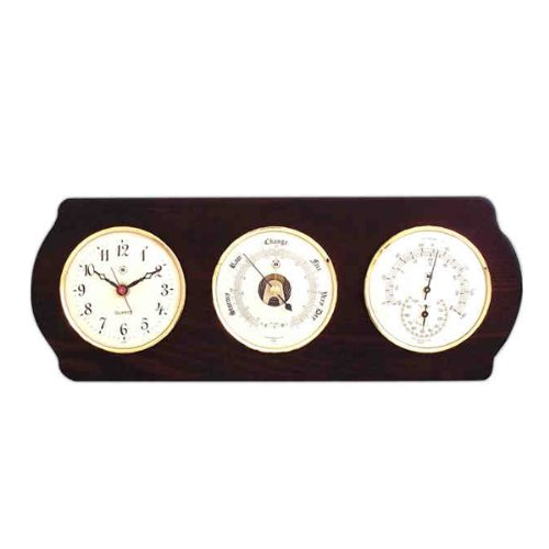 Clock with Barometer, Thermometer and Hygrometer on Ash Wood Base clock