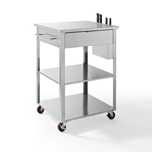 Crosley Culinary Prep Kitchen Cart, Stainless Steel