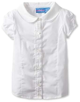 Nautica Little Girls'  Uniform Short Sleeve Woven Blouse, White,L(6)
