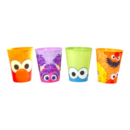 Sesame St. 4-Pack Cup with 3D Designs of Orange Elmo/Green Cookie Monster/Pink Abby/Orange Characters