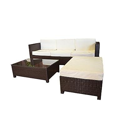 Garten-Lounge Loungegruppe Sitzgruppe mit Tisch Ottomane Kissen Polyrattan mocca von MACO Import - Gartenmöbel von Du und Dein Garten