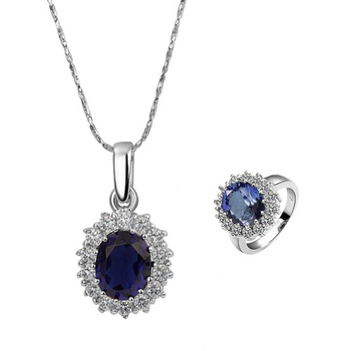 18k Gold Plated Swarovski Elements Crystal CZ Rhinestone jewelry Sets Blue Necklace & Ring