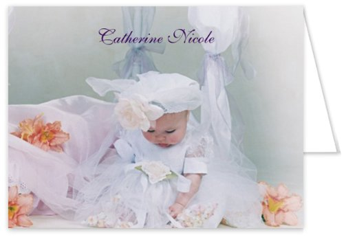 Claire Baptism Christening Thank You Cards - Set Of 20