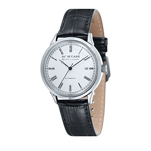 James McCabe Heritage Automatic Watch with White Dial and Black Genuine Leather Strap