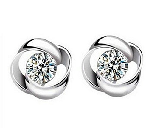 XT-XINTE Bling CZ Diamond Flower Design Ear Stud