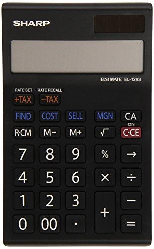 Sharp Electronics EL128SWH - Calculadora de Bolsillo con 12 Posiciones Color Negro/Blanco - Cálculo de Margen de Beneficios