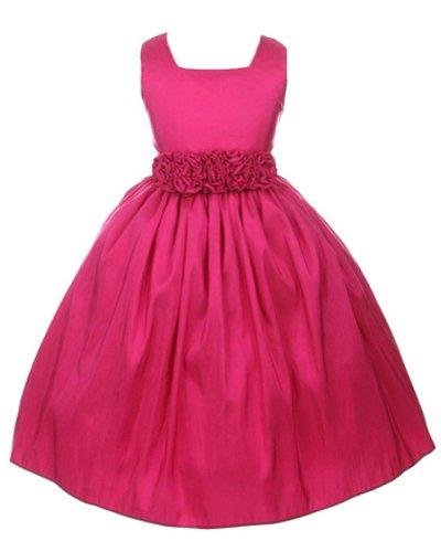 Sweet Kids Big Girls' Slvless Dress Rolled Flw Waistband 8 Fuchsia (Sk 3047)