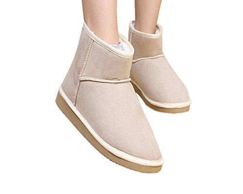 Minetom Damen Classic Schuhe Stiefeletten Winter Fur Boots Winterstiefel Warm Casual Flats Bequeme Mode Boots ( Beige EU 37 )