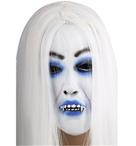 Prank toys horror white ghost mask with hair
